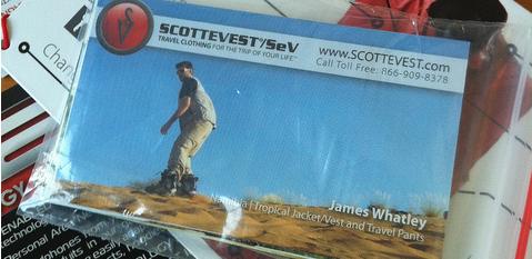 Whatleydude, on a sandboard, wearing Scottevest