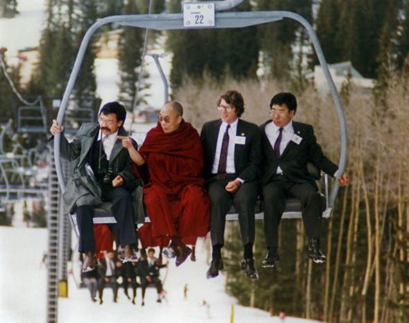 Dalai Lama skiing