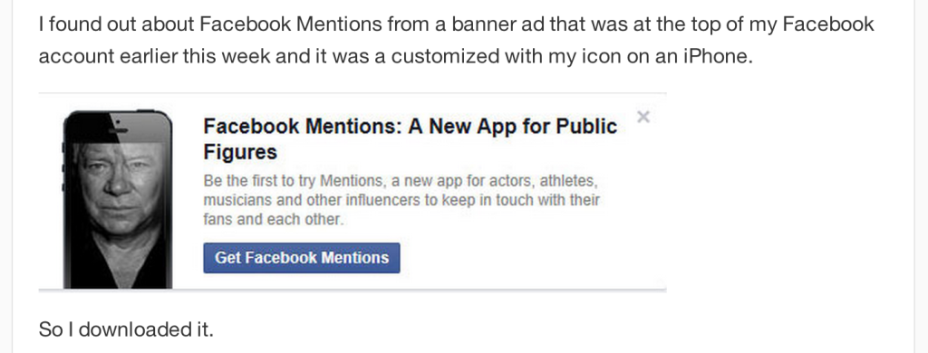 Facebook Mentions - shatner