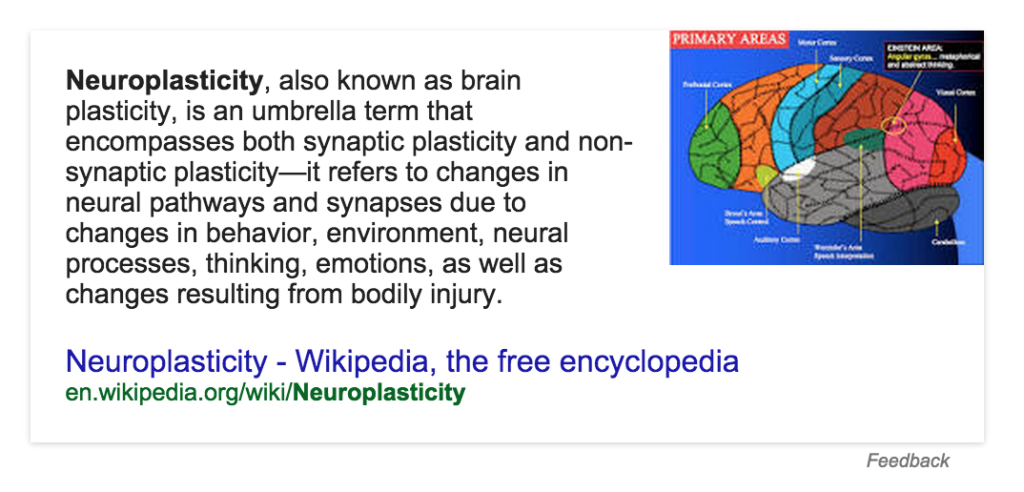 OK Google, define neuroplasticity